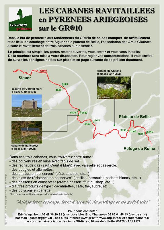 Les cabanes ravitaillées en Pyrénées Ariégeoises sur le GR10