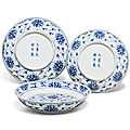 Three blue and white 'lotus' dishes, guangxu six-character marks in underglaze blue and of the period (1875-1908)