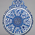 A magnificent and extremely rare large blue and white 'anbaxian' moonflask, seal mark and period of qianlong (1736-1795)