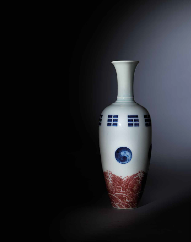 An exceptionally fine and rare copper-red and underglaze-blue amphora, Yongzheng six-character mark in underglaze blue and of the period (1723-1735)