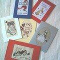 6 cartes de voeux brodées