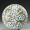 An unusual enameled and gilt-decorated circular 'dragon' box and cover, qing dynasty, guangxu mark and period (1875-1908)