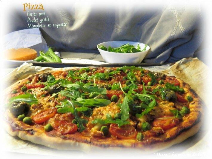 """ღ """" Miam """" Pizza au vert ( poulet et Mimolette )"""