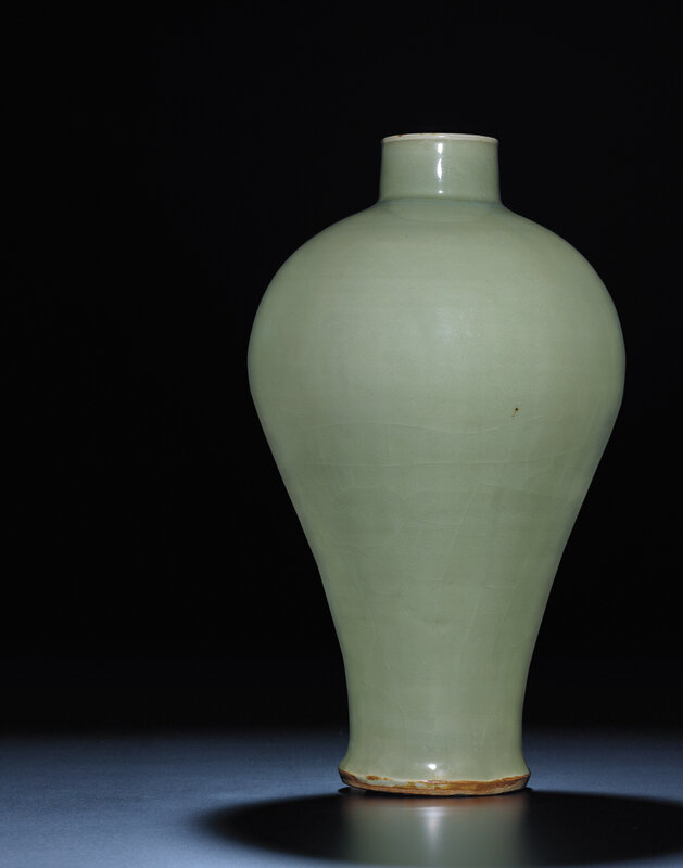 A rare early Ming Longquan celadonmeiping, Ming dynasty, 15th century
