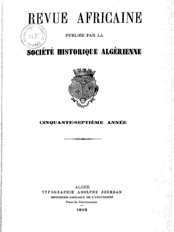 Revue africaine, 1913, couv
