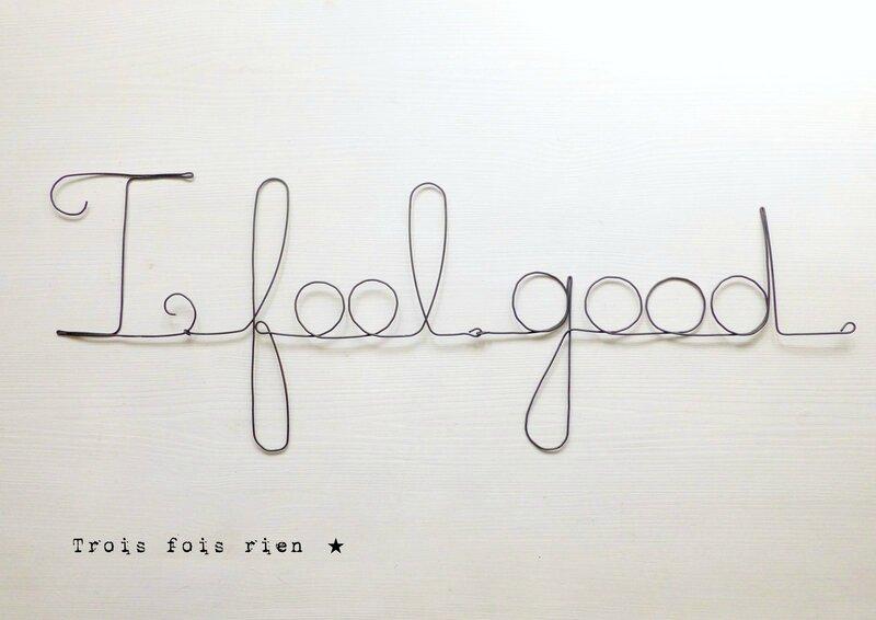 I feel good, phrase fil de fer, mots fil de fer, trois fois rien, wire words, wire