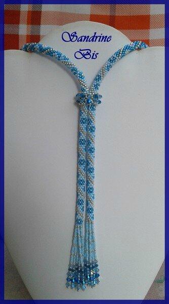 Lariat crochet bleu argent 2