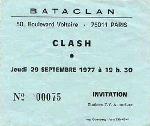 1977 09 The Clash Bataclan Invitation