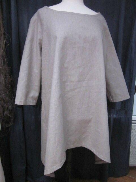 Tunique EDMEE en lin beige grisé (2)
