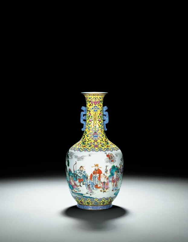 A rare yellow-ground 'famille-rose' figure vase, seal mark and period of Jiaqing (1796-1820)