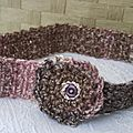 headband shaby laine tweed chinée, tons rose et bruns