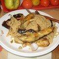 Assiette du soir, bonsoir: pâtes d'aubergines et pâtes.. aux pattes