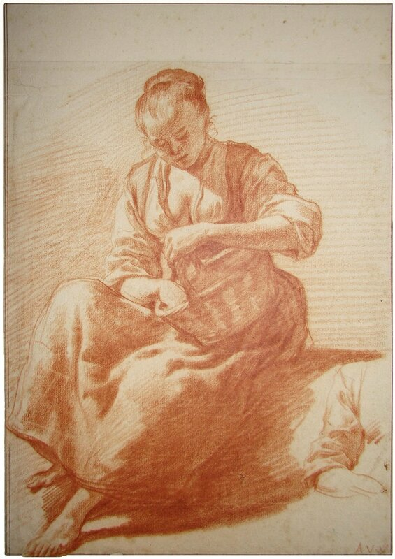 Seated woman with basket