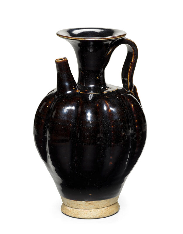 A 'Yaozhou' brown black-glazed lobed ewer, Late Tang dynasty (618-906)