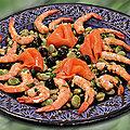 Salade de fèves aux crevettes et à la truite fumée