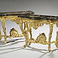 « aux chinois ». paire de consoles en bois sculpté et doré. plateau en scagliola. epoque louis xv.