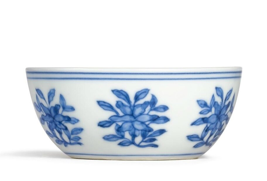 Chinese Old Blue and White Flower Pattern Lotus-Mouth Porcelain Tea//Wine Cup