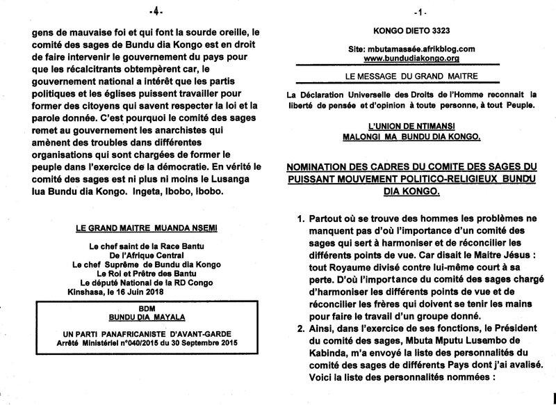 NOMINATION DES CADRES DU COMITE DES SAGES DU PUISSANT MOUVEMENT POLITICO RELIGIEUX BUNDU DIA KONGO a