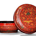 A rare large qiangjin and tianqi 'phoenix and crane' lacquer box and cover, jiajing six-character mark and of the period