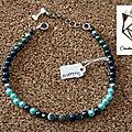 Colliers coloris bleu-vert pour chiens / chats avec pierres thérapeutiques, vegan - lithothérapie