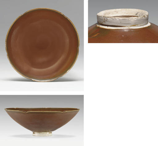 A very rare Dingyao persimmon-glazed foliate bowl, Northern Song dynasty, 11th century