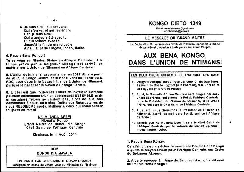 AUX BENA KONGO DE L'UNION DE NTIMANSI a