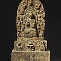 A large limestone buddhist stele, eastern wei dynasty or later
