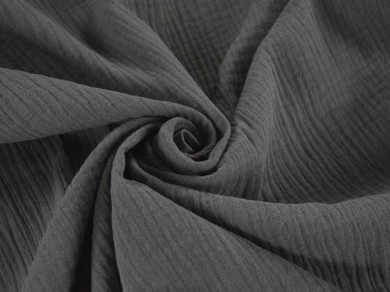 Tissu double gaze de coton uni coloris ANTHRACITE au mètre