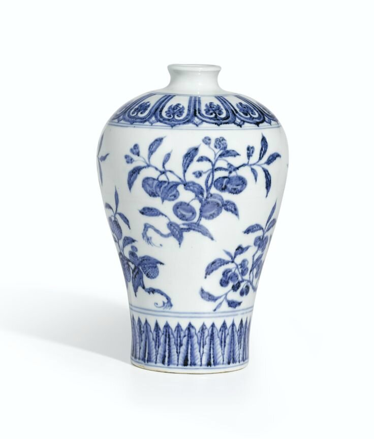 A fine and rare blue and white 'Fruit' meiping, Ming dynasty, Yongle period. Photo: Sotheby's.