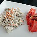 Radis noir, miettes de crabe et mayo