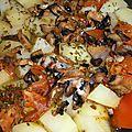 Ragoût de pommes de terre aux tomates, lardons fumes et cepes