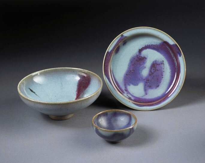 A Junyao purple-splashed dish, together with two Junyao bowls, Northern Song-Jin dynasty, 12th-13th century