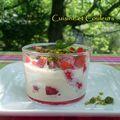 Dessert express : verrine de fraises au coulis de crème glacée
