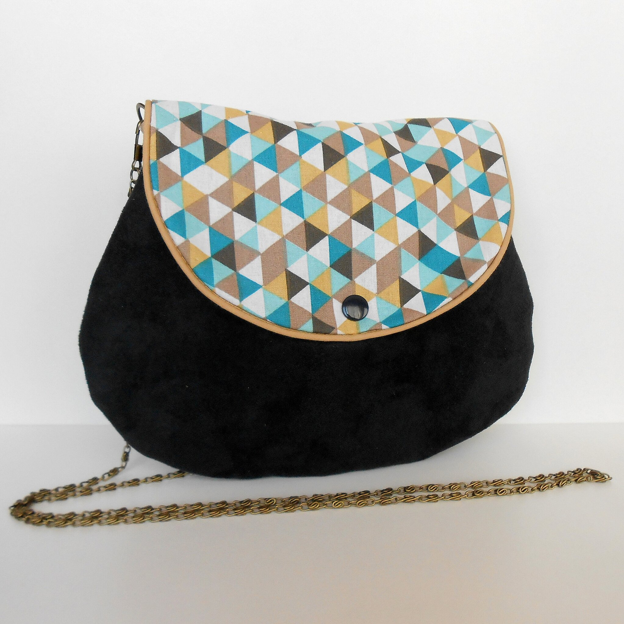 chouchou-arlequin turquoise-moutarde