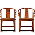 A pair of huanghuali horseshoe-back armchairs, quanyi, late ming dynasty, 17th century