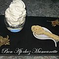 Cuillères au chocolat blanc, noisettes et amandes fraîches et chantilly et joyeuse st nicolas