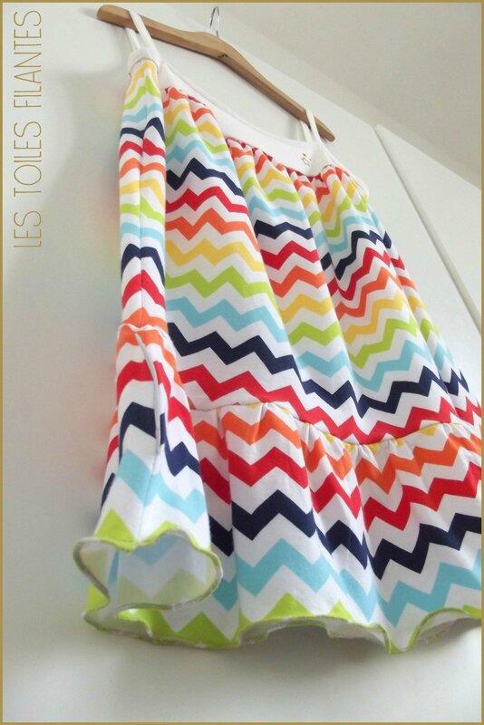 Robe Burda chevrons multicolores2