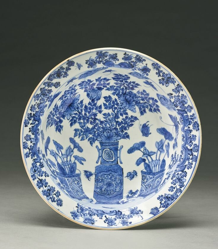 A blue and white 'Floral' basin, Late Ming dynasty, circa 1620s1
