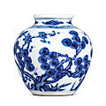 A fine small blue and white 'three friends of winter' jar, yongzheng mark and period (1723-1735)
