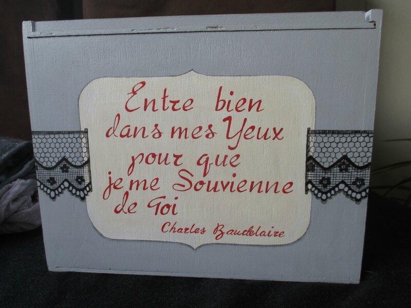 """Boîte """"dentelle & calligraphie"""" (trompe-l'oeil sur bois)"""