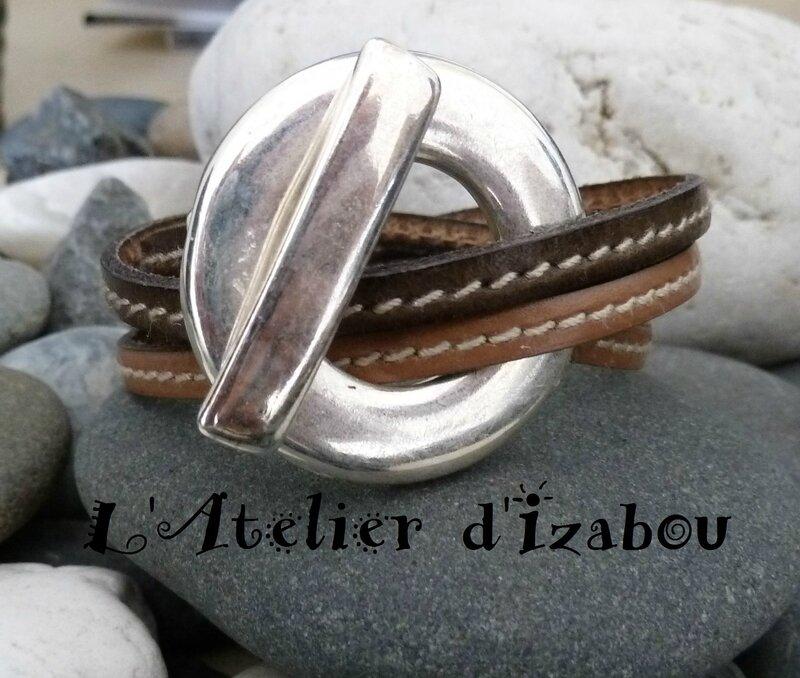 P1150398 Bracelet femme double tour cuir beige et marron-kaki