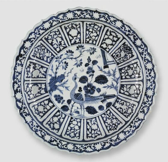 Charger with Foliate Rim and Peacock Decoration, mid-14th century, Chinese, 14th century, Yuan dynasty, 1279-1368