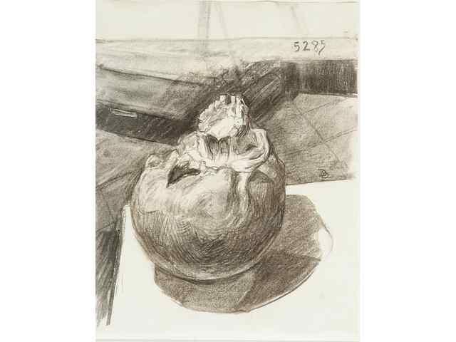 Didier PAQUIGNON (né en 1958). Vanité. Fusain. Monogrammé à droite au centre. Daté en haut à droite 5.2.85. 29,5 x 23 cm