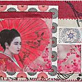 Geisha/ art postal mixed media