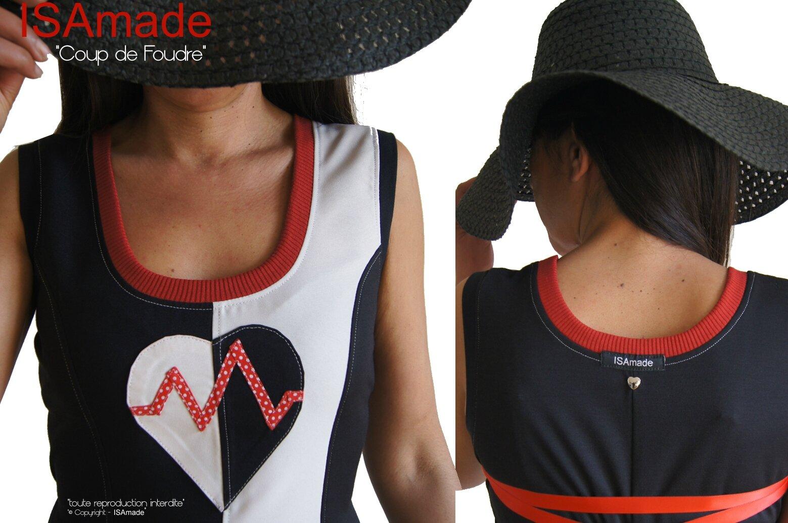 MOD 396D Robe Saint valentin Bicolore noir Blanc écru rouge à pois coeur made in France créateur mode 2016