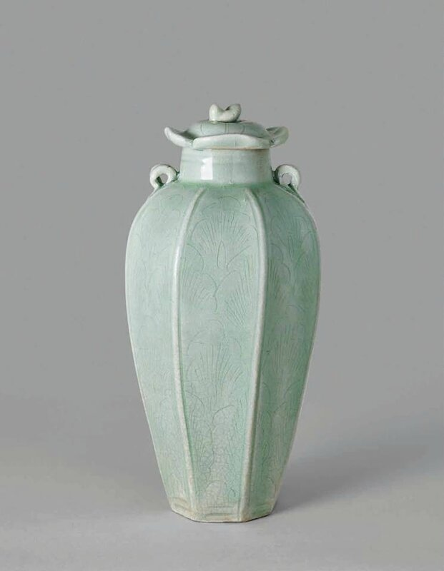 Early Longquan Yue-Type Octagonal Jar and Cover, Northern Song Dynasty, 960-1127 A