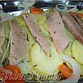 Filets de harengs fumés marinés sur lit de pommes de terre tièdes