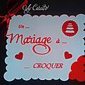 Faire-part mariage thème gourmandise rouge et blanc, biscuit, petit beurre