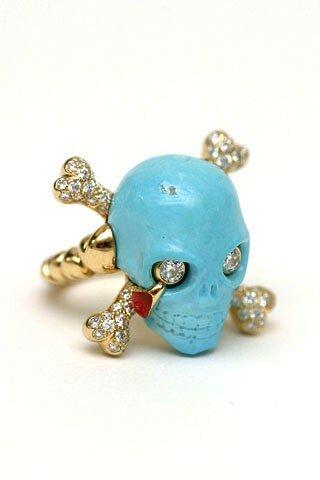 Bague Dior joaillerie en turquoise, or jaune, diamants et laque