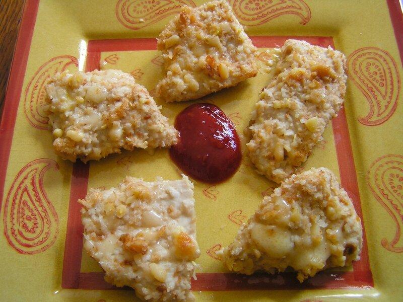 bouchées de volaille panées aux pignons de pin et parmesan